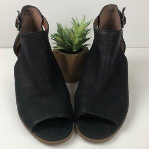 Lucky Brand Barimo Black Peep Toe Ankle Booties